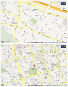Two maps of Ontario locations. One of Grimsby, Ontario, and one of downtown Toronto