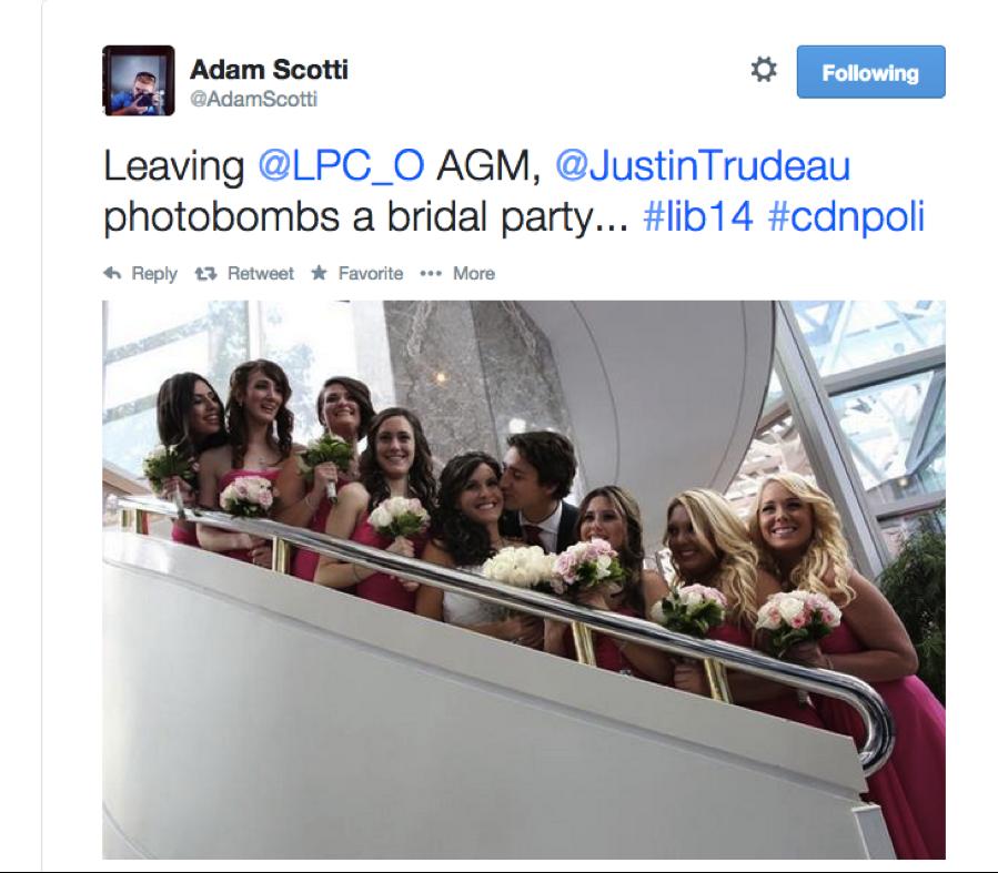 Trudeau bride kiss