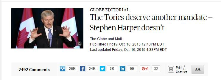 Globe and Mail editorial endorsement headline