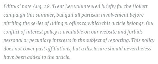 The disclaimer added to the riding profile after the writer's affiliations were discovered by Ricochet editors.