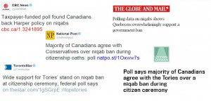 Headlines from different Canadian newspapers talking about the niqab.