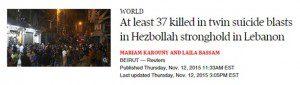 "Headline that reads ""At least 37 killed in twin suicide blasts in Hezbollah stronghold in Lebanon"""