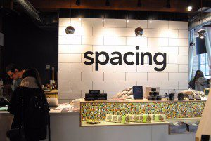 An image of the counter at the Spacing Toronto store