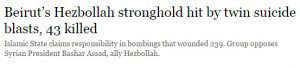 """Headline that reads """"Beirut's Hezbollah stronghold hit by twin suicide blasts, 43 killed"""""""