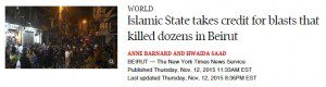 "Globe and Mail headline that says ""Islamic State takes credit for blasts that killed dozens in Beirut"""