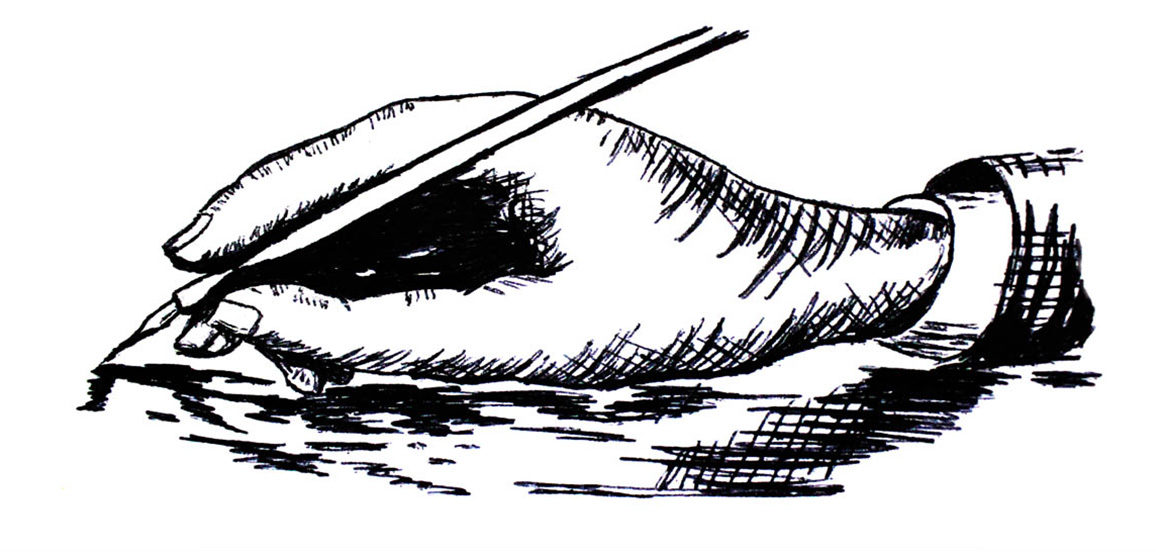An illustration of a hand holding an ink pen.