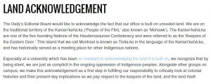 Text showing the McGill Daily's land acknowledgement