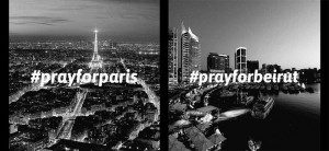 A split screen with one side showing the skyline of Paris with #prayforparis imprinted on it. The other side shows the Beirut skyline with #prayforbeirut