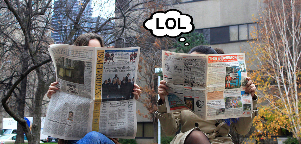 "Two people read newspapers on a bench. One reads The Beaverton and one reads the National Post. The one with The Beaverton has a thought bubble that says ""lol""."