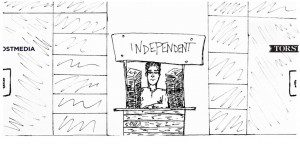 "An illustration of man at a booth labelled ""independent"" between other booths that read ""Torstar"" and ""Postmedia"""