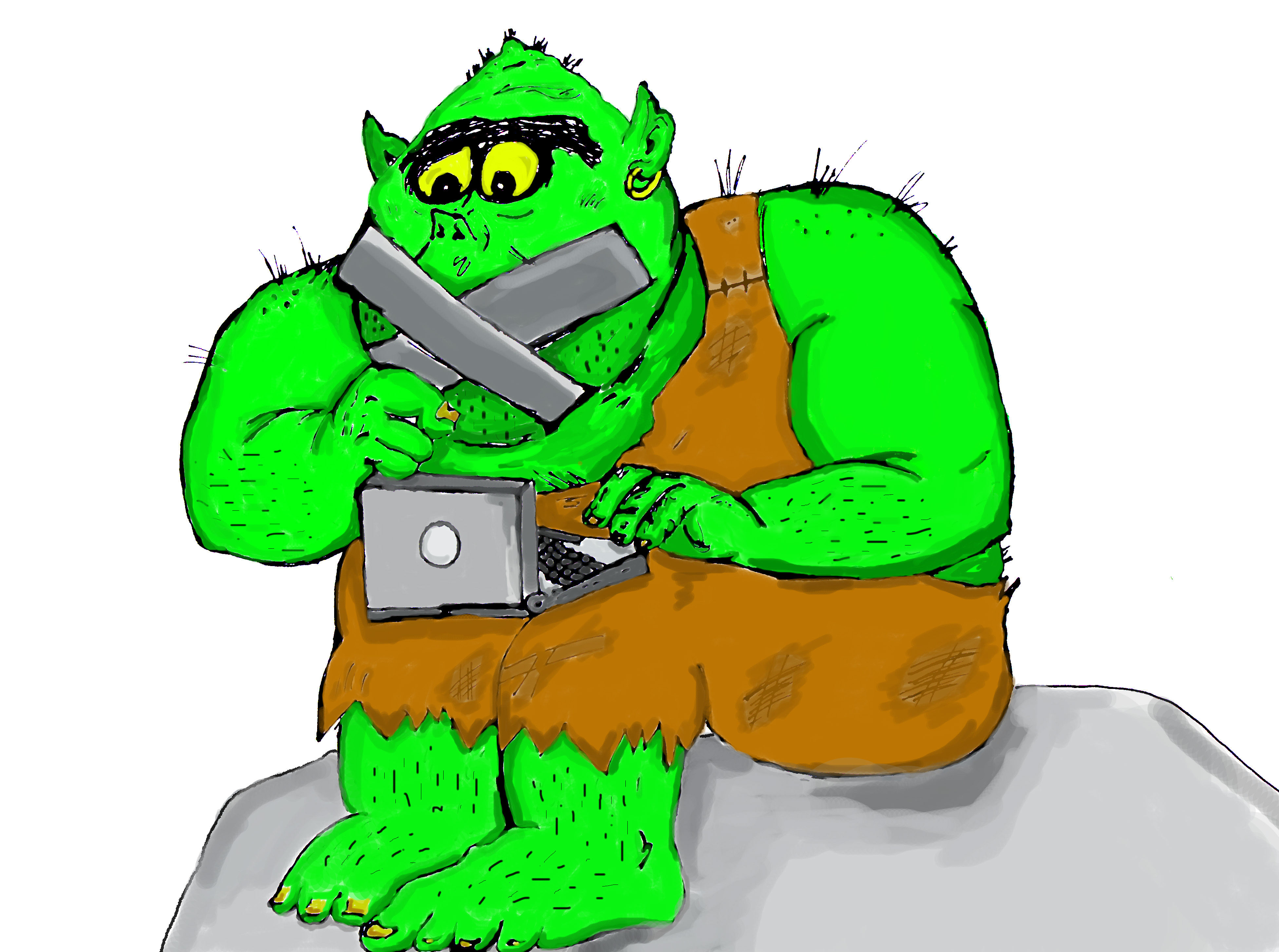 A green troll types on a laptop while his mouth is taped up.