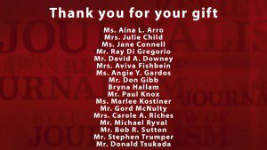 A graphical list of all who have given a gift to the RRJ