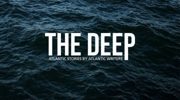 "The Deep logo is presented against a water background, accompanied by their slogan ""Atlantic Stories by Atlantic Writers."""