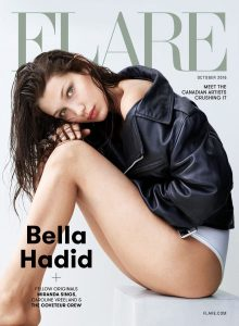 Cover of Flare depicting model Bella Hadid.