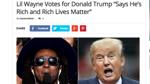 """""""Lil Wayne Votes for Donald Trump Says He's Rich and Rich Lives Matter."""" A photo of Lil Wayne and Donald Trump."""