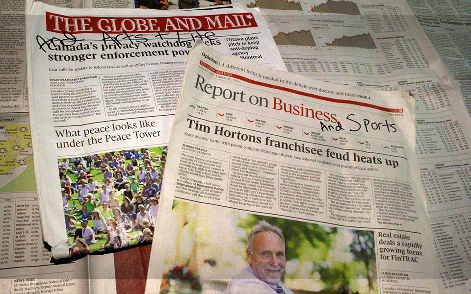 The Globe and Mail will merge its weekly arts, life and sports sections into news and business. (Jacob Dubé/RRJ)