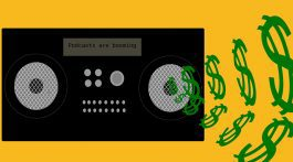 An illustration of money flowing from a radio. (Karoun Chahinian/RRJ)