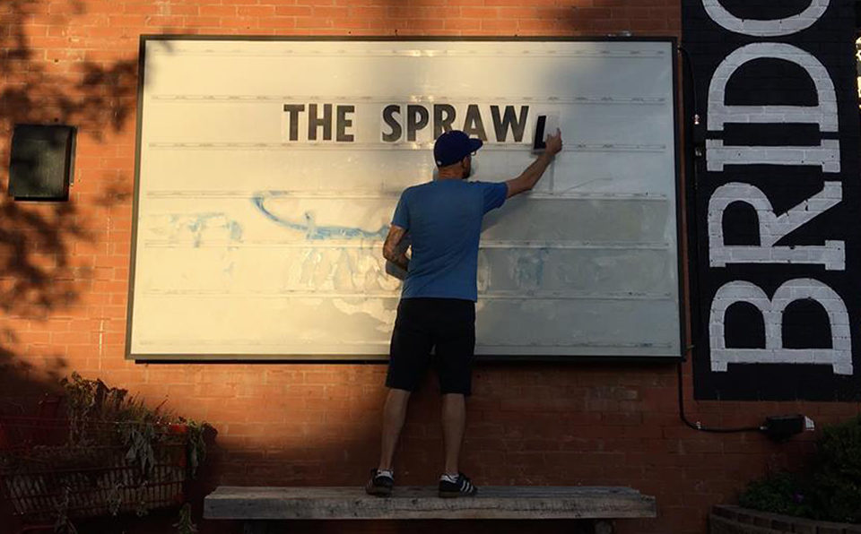 Jeremy Klaszus does some pop-up advertising for the Sprawl just before it launched in September 2017. (Courtesy Jeremy Klaszus/The Sprawl)