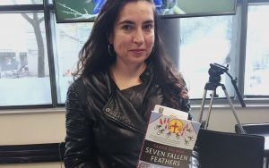 Tanya Talaga holding a copy of her first book, Seven Fallen Feathers, published Sept. 30, 2017.