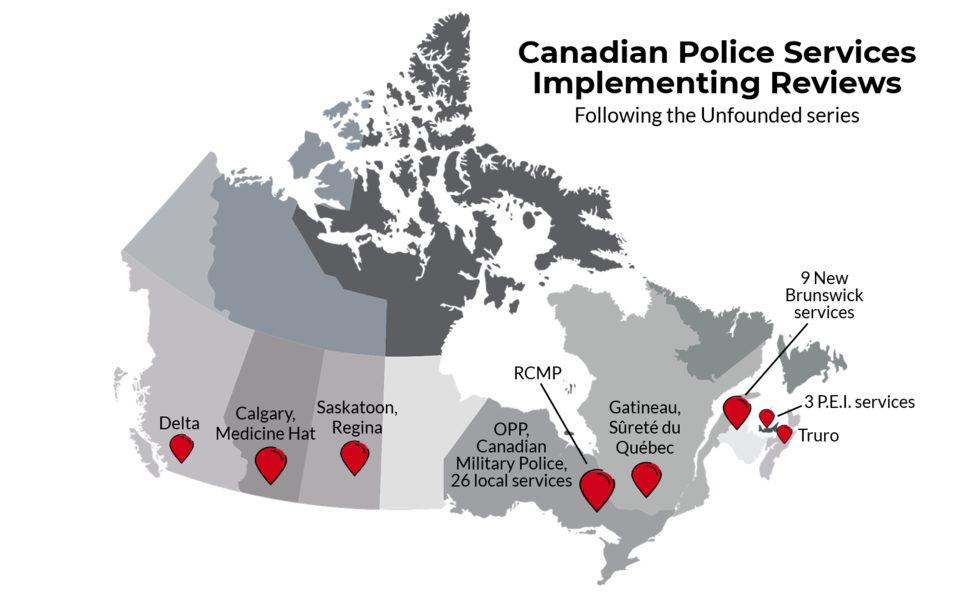 A map showing Canadian police services that have implemented changes after the Globe and Mail's reporting on sexual assault cases.