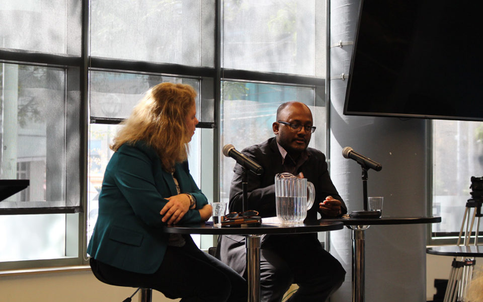 Amarnath Amarasingam and Joyce Smith at a panel at Ryerson University on Oct. 5, 2017. (Sunday Aken/RRJ)