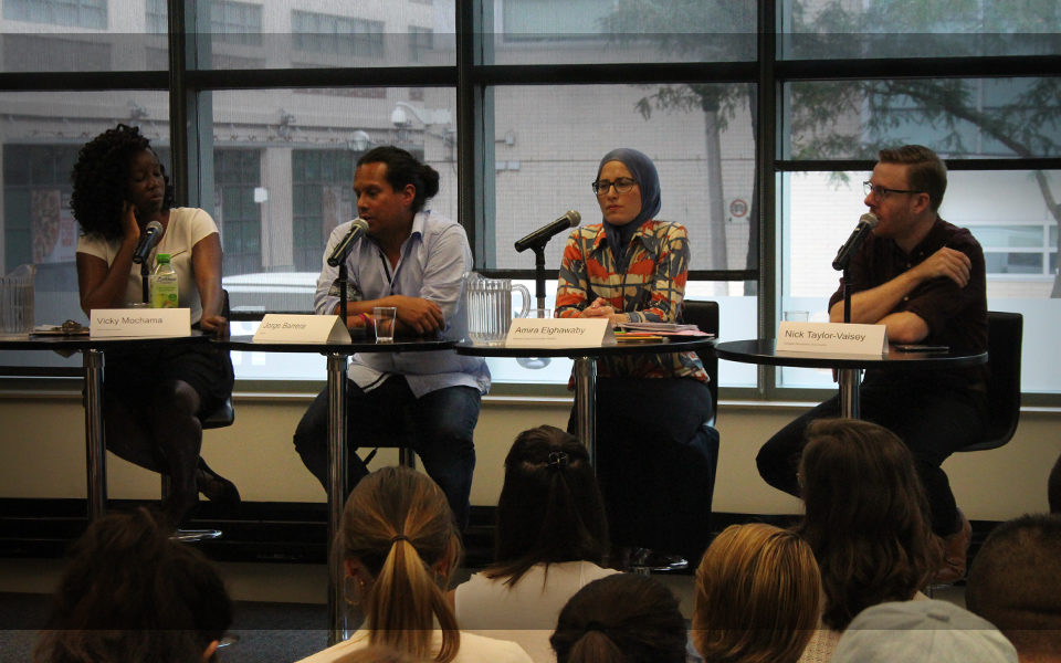 "Vicky Mochama, Jorge Barrera, Amira Elghawaby and Nick Taylor-Vaisey discussing the importance of diversity in journalism at the panel, ""Activist, advocate, columnist, reporter: Where's the line?"""
