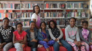 Annette Bazira-Okafor (back) with some of the girls from Black Girls Magazine.