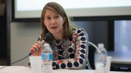 """Rachel Pulfer from Journalists for Human Rights talks about the importance of the local fixer network at the RRJ's recent conference, """"Covering disaster: A critical lens""""/Photo by Sherry Li"""