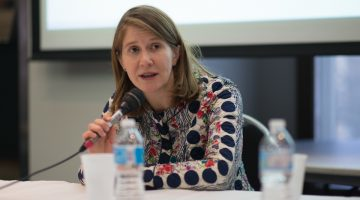 "Rachel Pulfer from Journalists for Human Rights talks about the importance of the local fixer network at the RRJ's recent conference, ""Covering disaster: A critical lens""/Photo by Sherry Li"