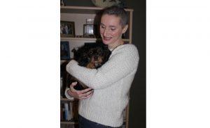 Jody Porter with her dog, Obsidian.