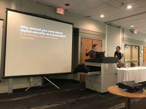 Matt Braga and Susana Ferreira speak at Day of MediaToo on April 10, 2018.