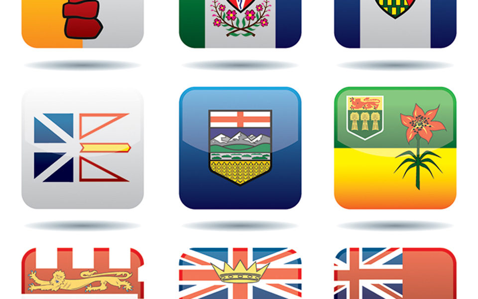 The flags of the different provinces and territories in Canada.