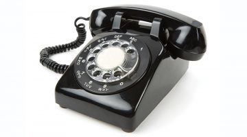 A black vintage phone