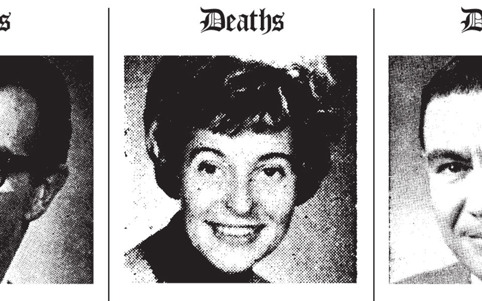 Black and white obituary photos