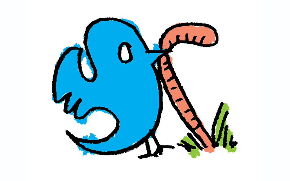 A Twitter bird catches a worm.