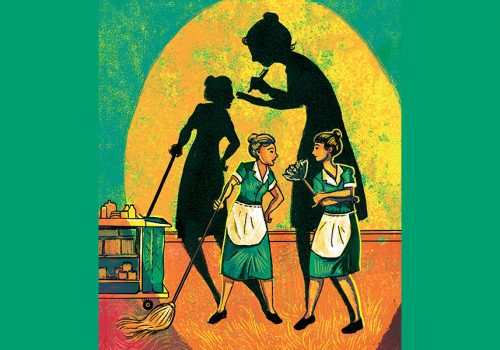 Two maids speak to one another, but one's shadow reveals an undercover journalist taking notes.