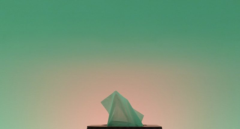 A kleenex box juxtaposed in front of a green background