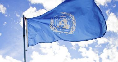 UN flag blowing in the wind