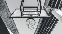 A black and white photo of a basketball hoop